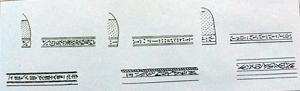 Escritura cúfica (árabe antigua, escrita en los primeros Coranes ), empleada en monumentos, monedas...